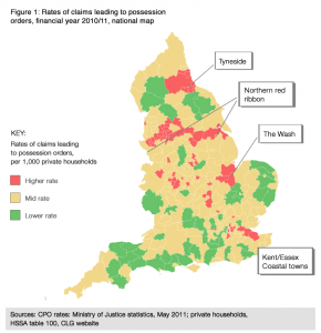 House repossessions accross uk map